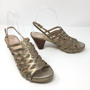 Stuart Weitzman Genuine Leather Gold Strap Sandals